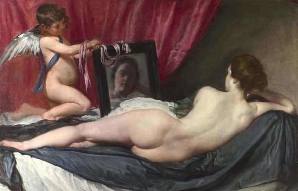 """""""La Toilette de Vénus"""" (1647-1651), de Diego Velazquez, un des rares nus de la peinture espagnole. (National Gallery - RMN)"""