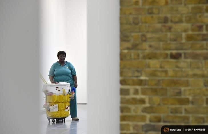 A sculpture entitled 'Queenie II' by the late U.S. artist Duane Hanson is exhibited at the Serpentine Sackler Gallery in London, June 1, 2015. Hanson's lifelike sculptures portraying working-class Americans and overlooked members of society are being brought together in the largest show of his work in Britain since 1997. REUTERS/Toby Melville